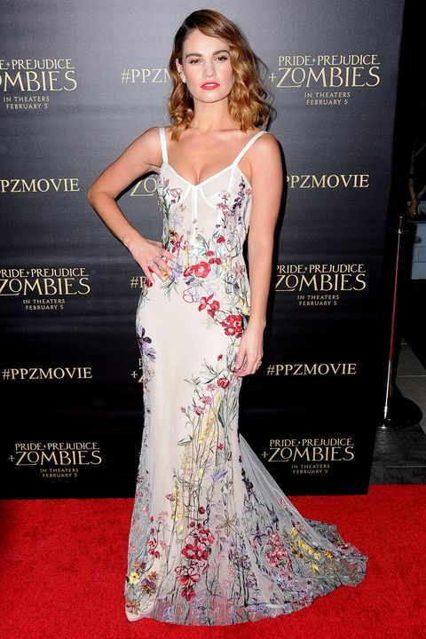 Lily James at the Pride and Prejudice and Zombies premiere - Best Dressed
