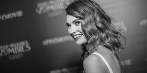 Lily James at the Pride and Prejudice and Zombies premiere