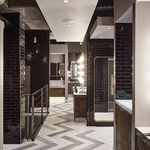 Floor, Lighting, Flooring, Interior design, Ceiling, Tile, Countertop, Light fixture, Cabinetry, Tile flooring,