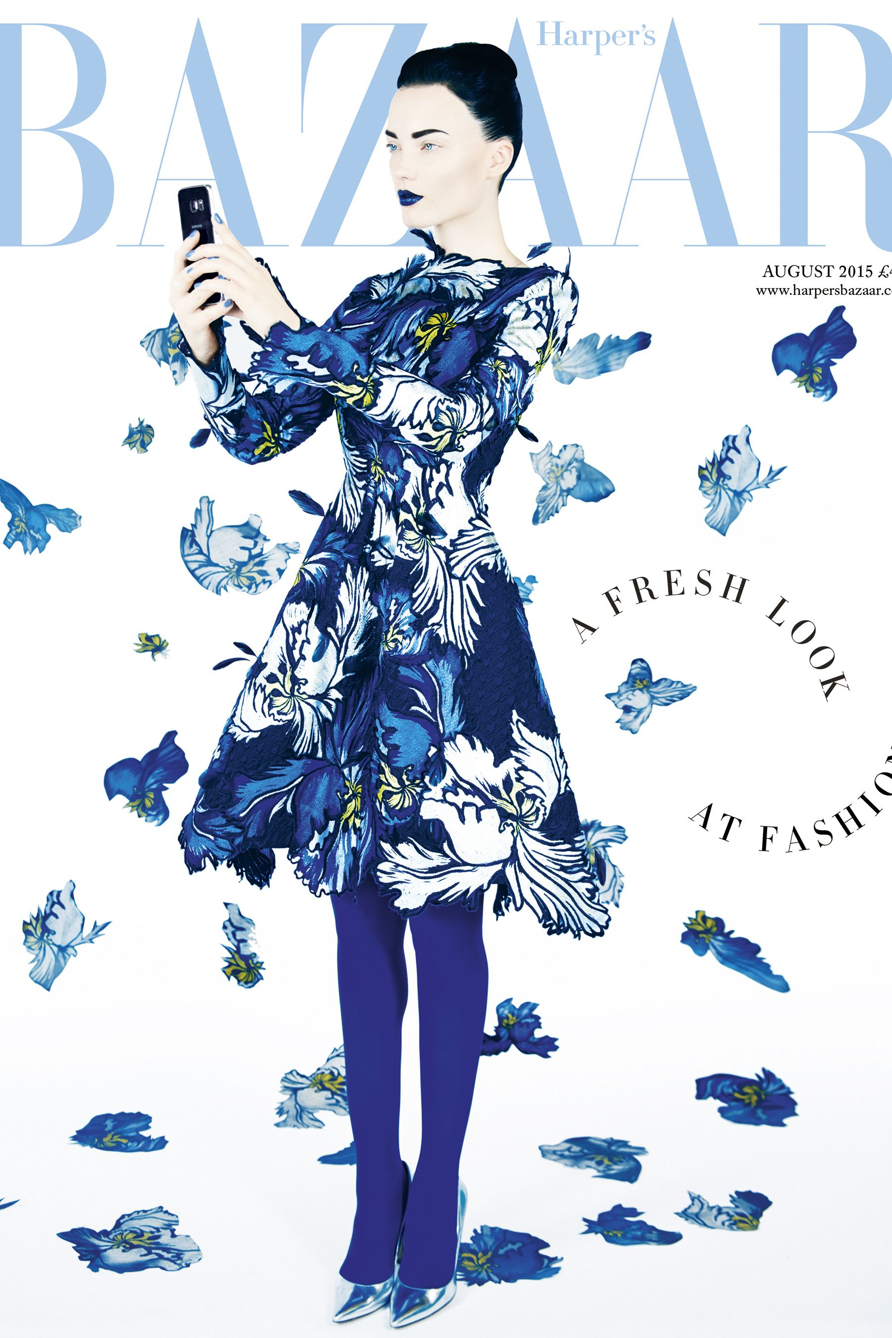 Harper's Bazaar August 2015 issue cover, powered by Samsung