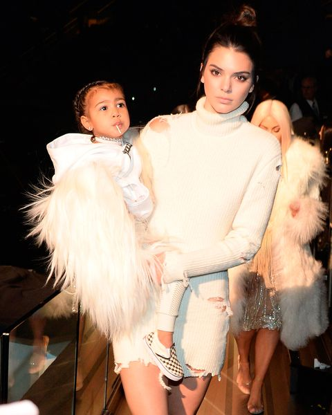 dfcd1bdd5f062 North West with Kendall Jenner at Yeezy season 3. Dressed in her Balmain x  ...