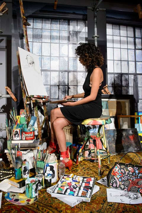 Artist, Bag, Market, Selling, Stool, Marketplace, Retail,