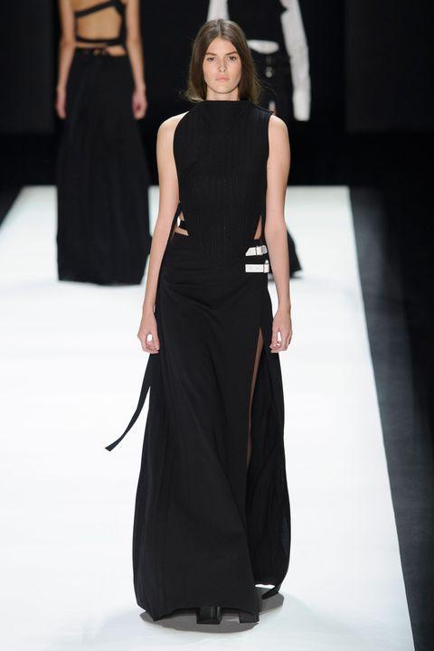 Clothing, Dress, Shoulder, Joint, Waist, Fashion model, Formal wear, Fashion show, Style, One-piece garment,