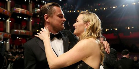 Kate Winslet reacts to Leonardo DiCaprio's Oscar win