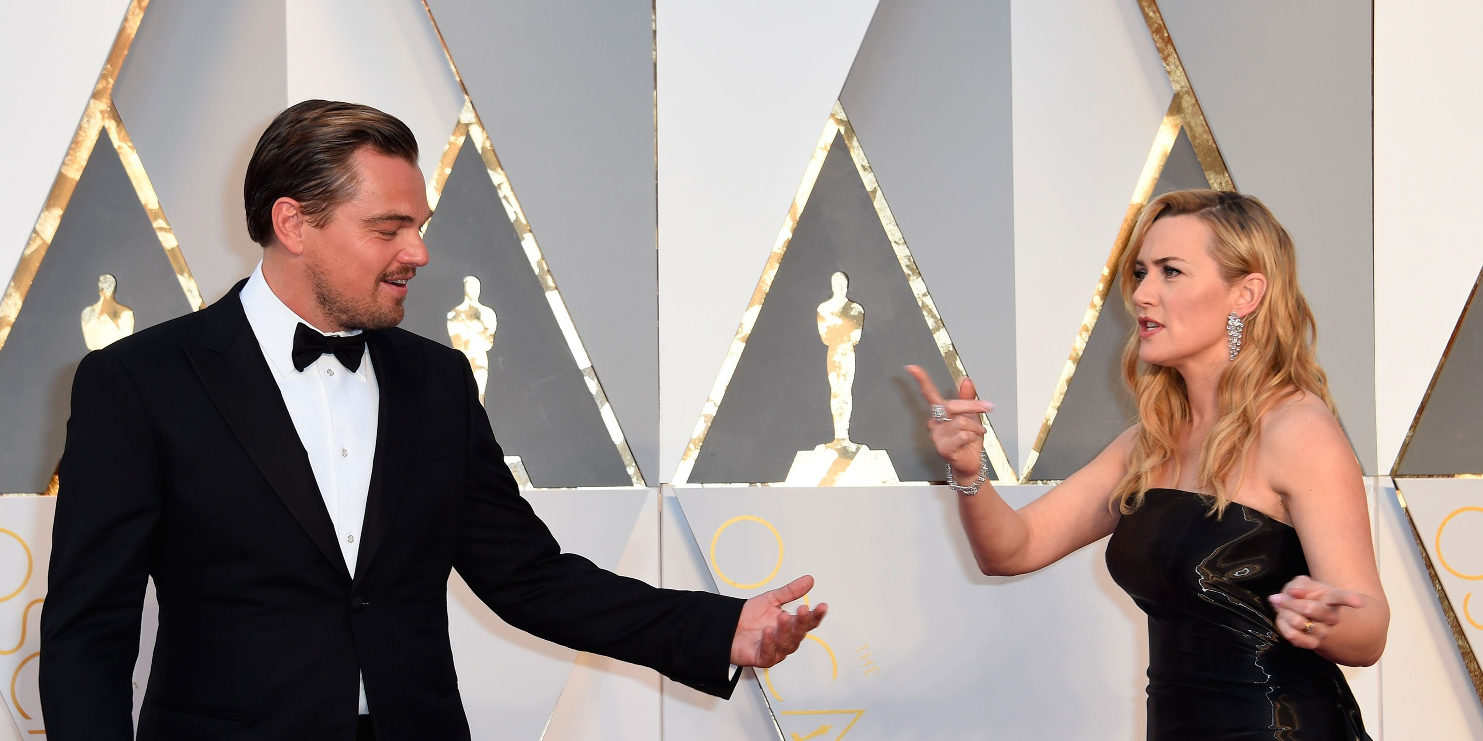 Kate Winslet and Leonardo DiCaprio at the Oscars 2016