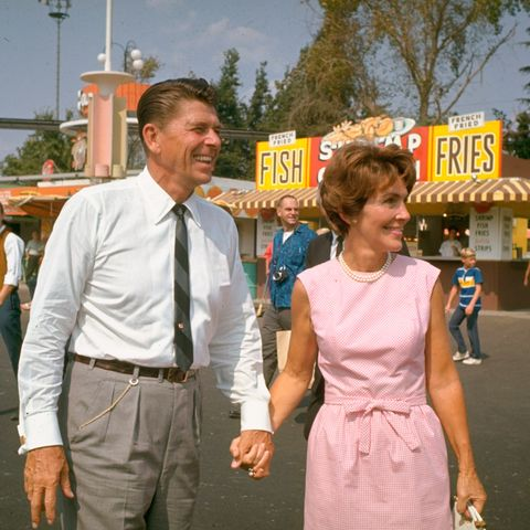Nancy Reagan with her husband on the campaign trail in 1966