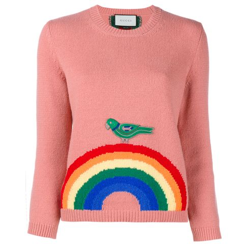 Gucci pink jumper with rainbow and bird motif