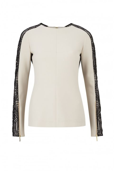 MIDTOWN CREAM LACE PANELLED TOP
