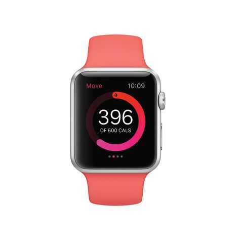 Product, Watch, Electronic device, Red, Technology, Pink, Watch accessory, Magenta, Wrist, Font,