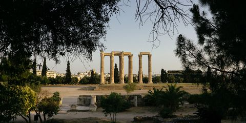 Tree, Woody plant, Ancient rome, Column, Morning, Shade, Garden, Ancient history, History, Ancient greek temple,