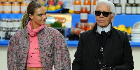 Cara Delevingne with Karl Lagerfeld