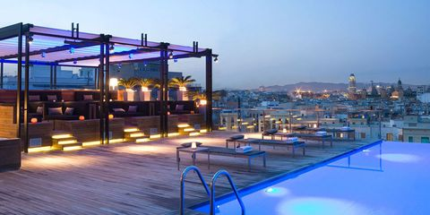 Evening, Swimming pool, Shade, Dusk, Resort town, Security lighting, Hotel,