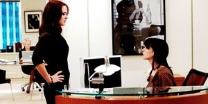 Emily Blunt and Anne Hathaway in The Devil Wears Prada