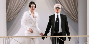 Karl Lagerfeld and Kendall Jenner at the Chanel couture show