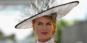 Nicole Kidman wearing a hat to the races