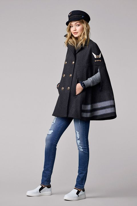 847f41c7 Gigi Hadid for Tommy Hilfiger clothing collection look book. Look 4. Nautical  hat ...