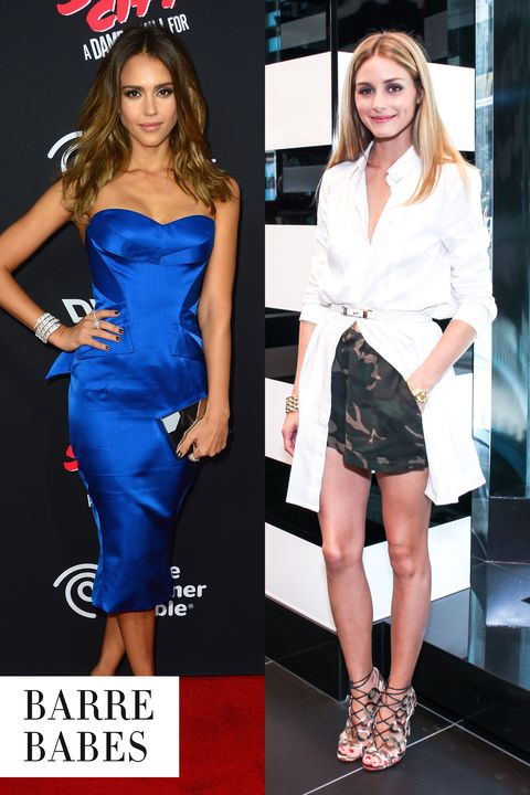"""<strong>The Celebs:</strong> Jessica Alba, <a target=""""_blank"""" href=""""http://www.harpersbazaar.com/beauty/diet-fitness/a10891/olivia-palermo-favorite-workout/"""">Olivia Palermo</a>  <strong>The Workout:</strong> Barre  <strong>The Body Benefits:</strong> Barre classes use exercise balls, rubber bands and ballet barres to increase flexibility and lean muscle mass and tone and strengthen all over. Plus, they're gentle on joints.  <strong>The Hot Spots:</strong> <a target=""""_blank"""" href=""""https://www.flywheelsports.com/"""">Flybarre</a>, <a target=""""_blank"""" href=""""http://www.thedaileymethod.com/"""">The Dailey Method</a>"""