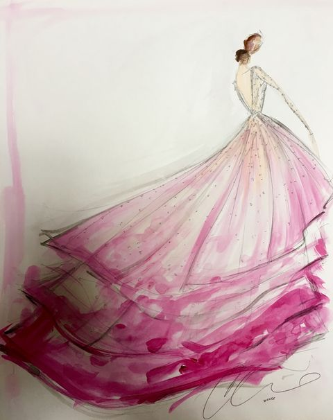 """<p>The bride turned to her friend, designer <a href=""""http://www.christiansiriano.com/bridal16.php"""" target=""""_blank"""">Christian Siriano</a> for her custom, non-traditional wedding gown. Siriano also created looks for her mother and sister.&nbsp;The ombré tulle ballgown with a high-low hemline had a low back and an illusion sweetheart neckline, which along with the long sleeves was completely covered in delicate degradé beading that worked its way into the skirt.</p>"""
