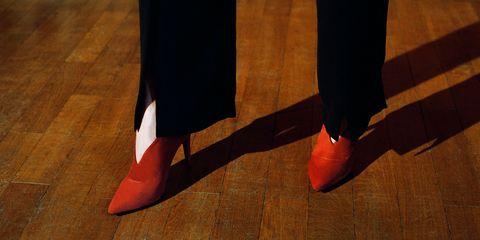 Floor, Flooring, Red, Hardwood, Carmine, Wood flooring, Laminate flooring, Tan, Wood stain, Dress shoe,