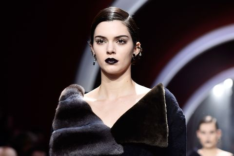 74d6195280a8 Kendall Jenner on the Dior catwalk wearing black lipstick