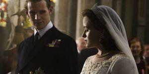 Queen Elizabeth's wedding dress in The Crown