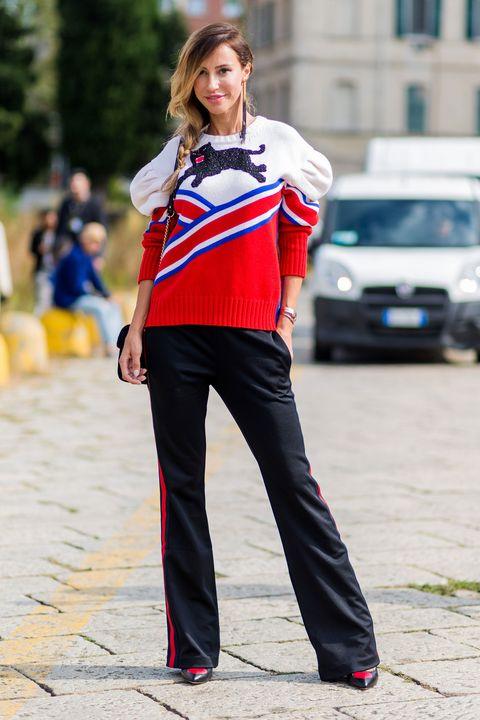 Sleeve, Outerwear, Bag, Style, Street fashion, Waist, Carmine, Electric blue, Luggage and bags, High heels,