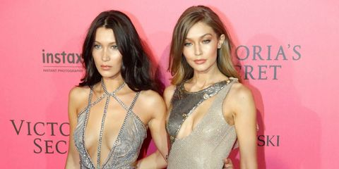 Bella Hadid and Gigi Hadid at the Victoria's Secret fashion show after party