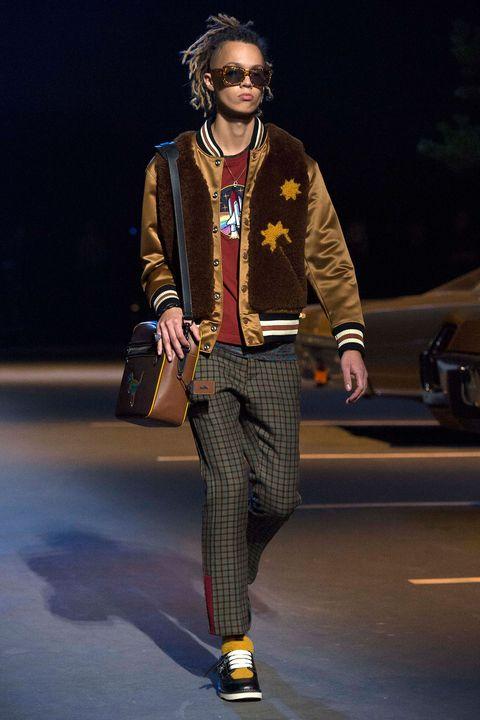 Jacket, Outerwear, Style, Fashion show, Bag, Fashion accessory, Street fashion, Sunglasses, Fashion, Fashion model,
