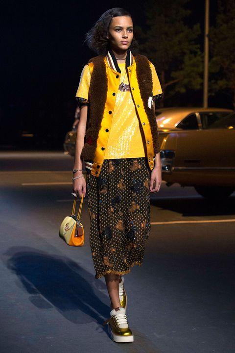 Yellow, Bag, Style, Street fashion, Fashion, Orange, Knee, Luggage and bags, Dreadlocks, Jheri curl,