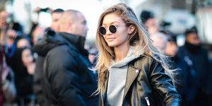 Gigi Hadid in a leather jacket