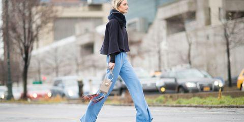 Trousers, Denim, Outerwear, Jeans, Road surface, T-shirt, Jacket, Street fashion, Street, Asphalt,