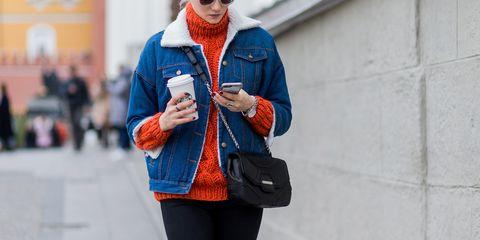 Clothing, Street fashion, Blue, Orange, Outerwear, Jacket, Electric blue, Fashion, Coat, Cobalt blue,