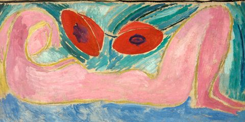 Vanessa Bell, Nude with Poppies, 1916, oil on canvas, board: 23.4 x 42.24 cm, Swindon Museum and Art Gallery. © The Estate of Vanessa Bell, courtesy of Henrietta Garnett