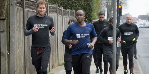 Prince Harry runs with staff and users of The Running Charity, which is the UK's first running-orientated programme for homeless and vulnerable young people, on January 26, 2017 in Willesden, north west London, England.