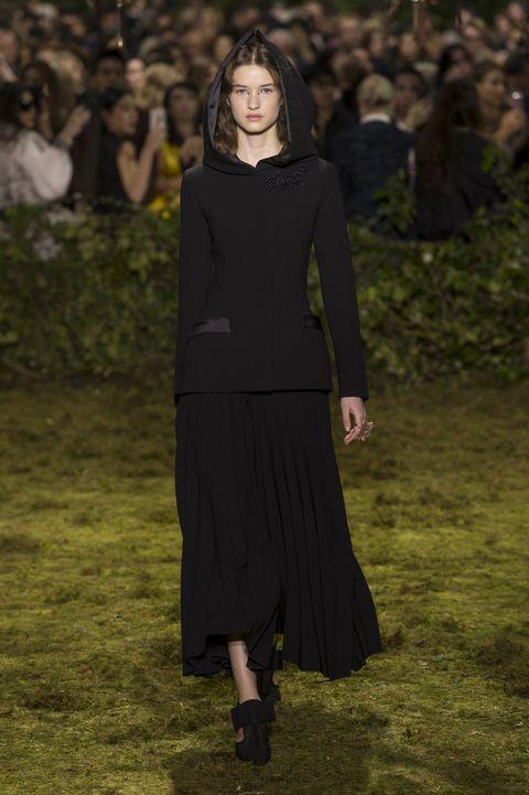 Sleeve, Formal wear, Dress, Street fashion, Neck, Little black dress, Long hair, Fashion model, Waist, One-piece garment,