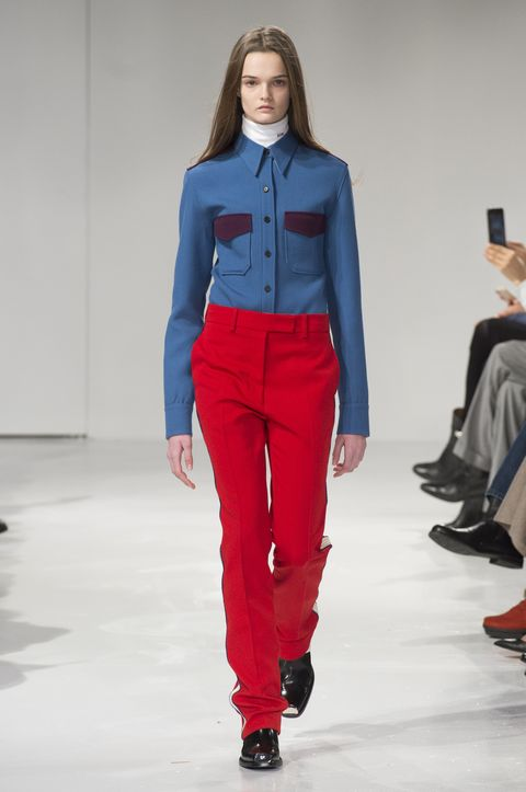 Footwear, Blue, Sleeve, Collar, Textile, Outerwear, Red, Style, Dress shirt, Carmine,