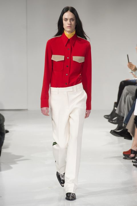 Clothing, Footwear, Leg, Sleeve, Shoulder, Fashion show, Textile, Joint, Outerwear, Red,
