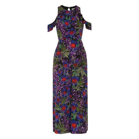Dress, Sleeve, Pattern, One-piece garment, Formal wear, Day dress, Teal, Magenta, Visual arts, Costume design,