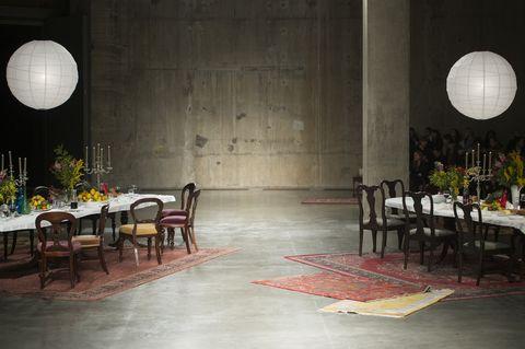 Floor, Room, Interior design, Flooring, Furniture, Table, Chair, Hall, Light fixture, Restaurant,
