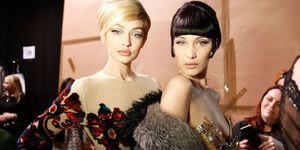 Gigi and Bella Hadid at Moschino