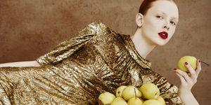 Model eating fruit
