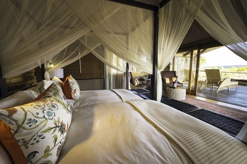 """<p><span>With Victoria Falls – and all its thrilling bungee-jumps and zip-wires – on the doorstep, this Wilderness Safaris camp is a peaceful retreat on the banks of the Zambezi. The 12 spacious tents are linked by wooden walkways, connecting them to the communal deck, fire pit and pizza oven, for restorative evenings out on the riverbank. As well as spotting hippo, crocodile and elephant, you can try white-water rafting and fishing. Plus, meet the local rhinos – a nearby conservation area is a sanctuary for some of those left in Zambia's wild. &nbsp;</span><br></p><p><i data-redactor-tag=""""i"""">Three nights, from £5,432 a person including international flights, as part of a six-night trip with Yellow Zebra Safaris (020 8547 2305; <a href=""""http://www.yellowzebrasafaris.com"""" target=""""_blank"""" data-tracking-id=""""recirc-text-link"""">yellowzebrasafaris.com</a>).&nbsp;</i></p>"""