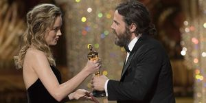Casey Affleck and Brie Larson at the 2016 Oscars