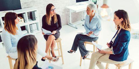women at work, group team work,