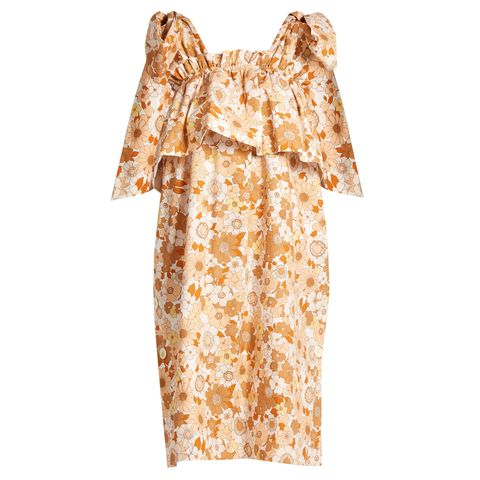 Clothing, Dress, Day dress, Yellow, Sleeve, Robe, Nightwear, Gown, Costume, Beige,