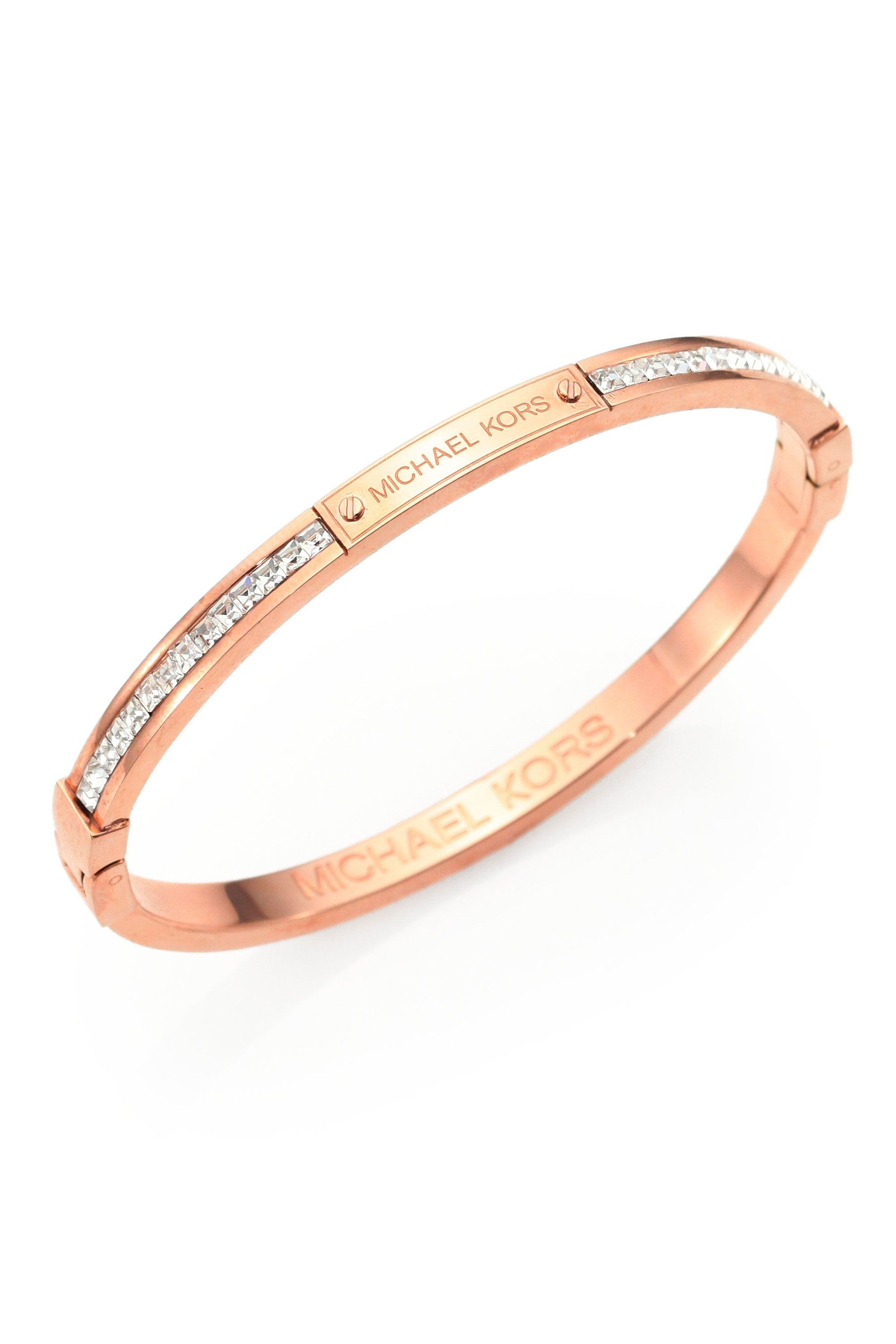 michael gold pave braceletrose rose kors normal product goldtone lyst in bracelet pink bangles gallery diamond charm bangle lock jewelry