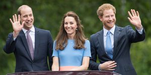 William, Kate and Harry waving