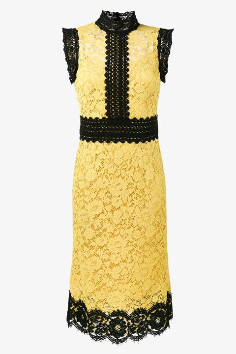 Dolce and Gabbana wedding guest dress look black and yellow lace