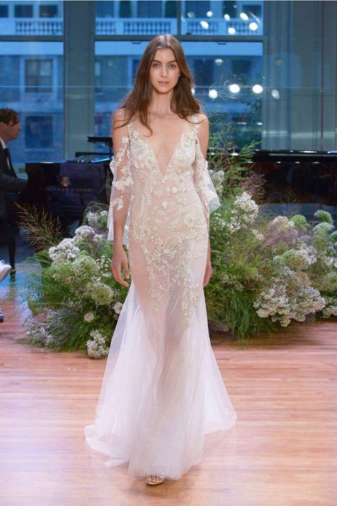 Gown, Dress, Fashion model, Clothing, Wedding dress, Shoulder, White, Fashion, Bride, Bridal clothing,