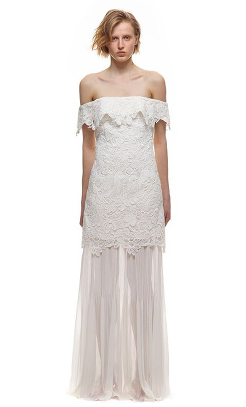 Gown, Clothing, Dress, Wedding dress, Shoulder, Bridal party dress, Fashion model, Strapless dress, Bridal clothing, Joint,